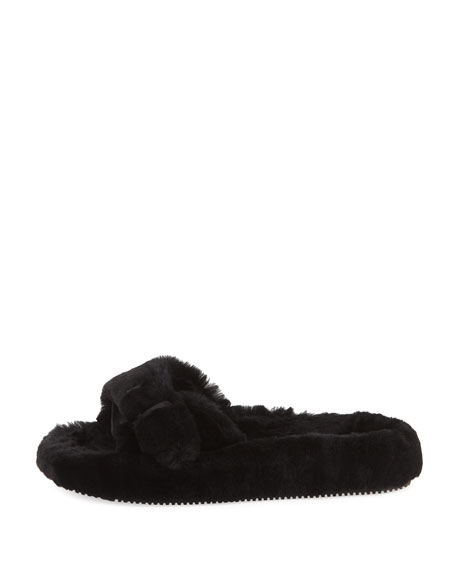 Bee Shearling Fur Slide Sandal
