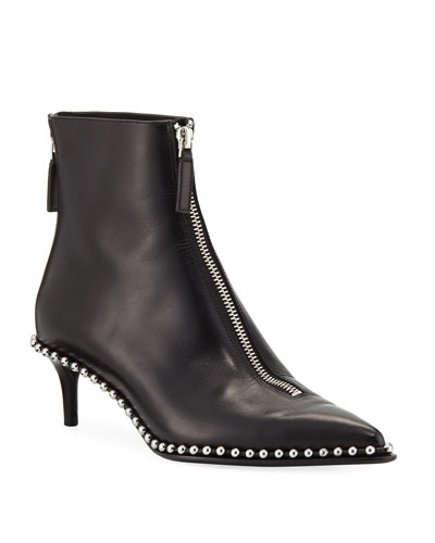 Eri Low Leather Ball-Stud Bootie