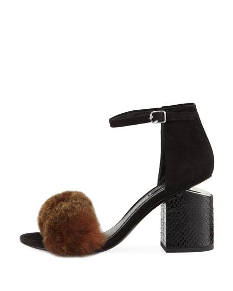 Abby Fur Tilt-Heel City Sandals