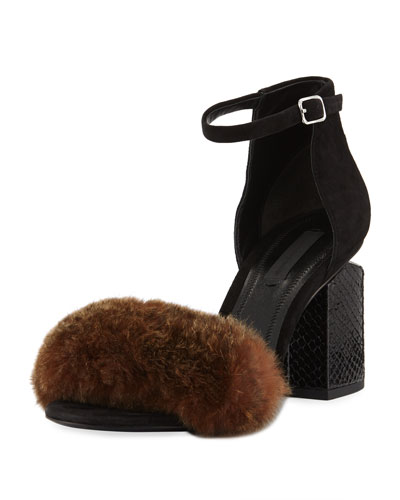 Abby Fur Tilt-Heel City Sandals