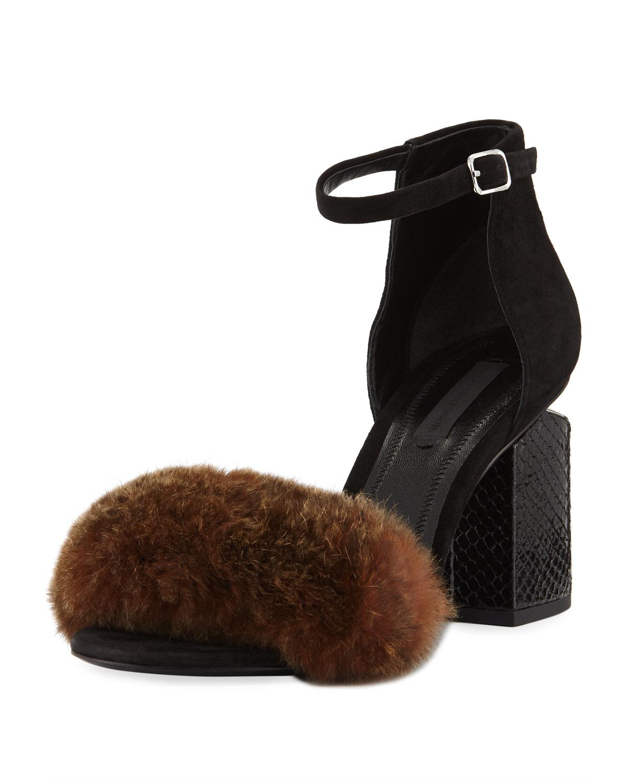 51ed7c71dd9 Alexander Wang Abby Fur Tilt-Heel City Sandals