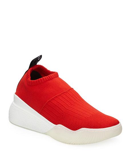Loop Sock Nylon Platform Sneakers, Red/Black