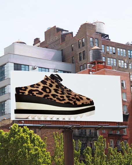 Elyse Leopard-Print Platform Sneaker Mule