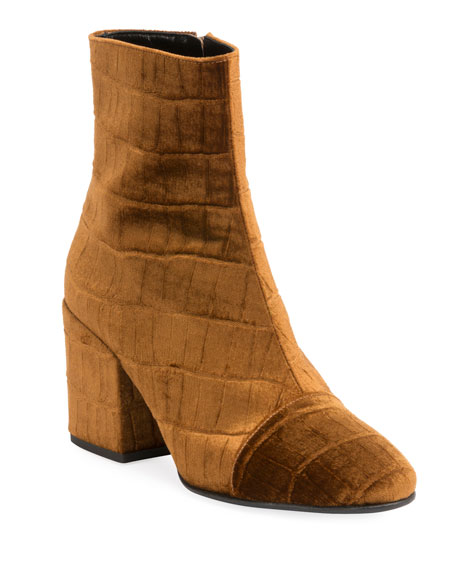 Cap-Toe Stamped Velvet Ankle Boots in Tan
