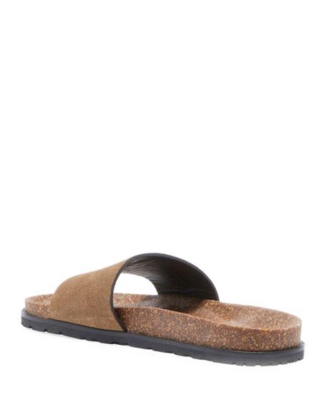 Joan Noe Flat Suede Slide Sandal