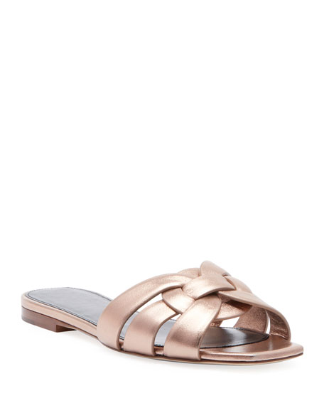 Nu Pieds Flat Metallic Calf Leather Slide Sandal by Saint Laurent