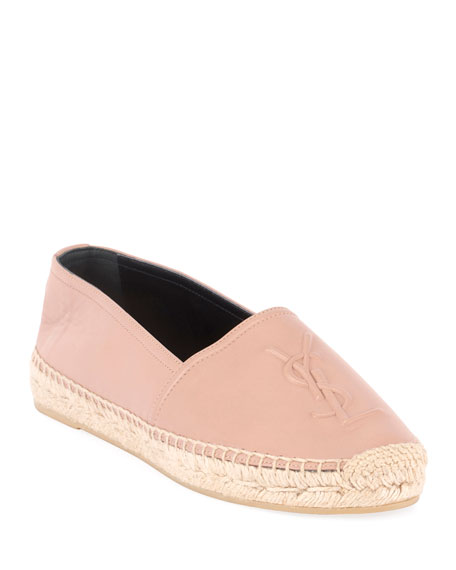 Saint Laurent Napa Leather Slip-On Espadrille with Logo