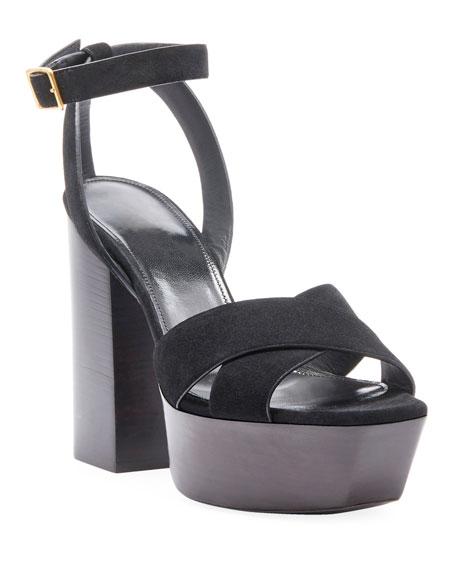 Saint Laurent Farrah Suede Platform Sandal