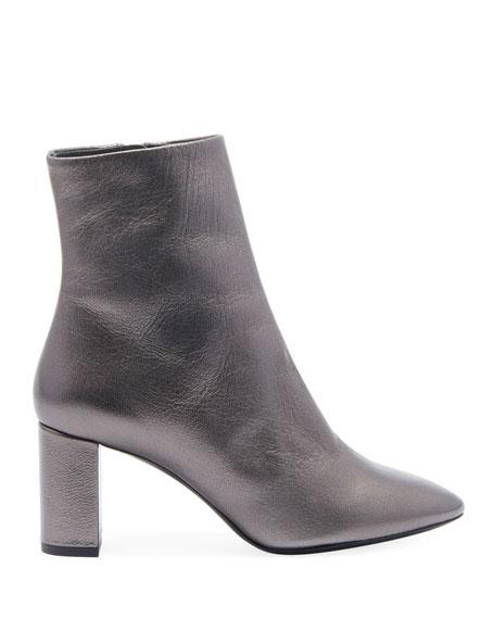 Lou Metallic Leather Low-Heel Booties