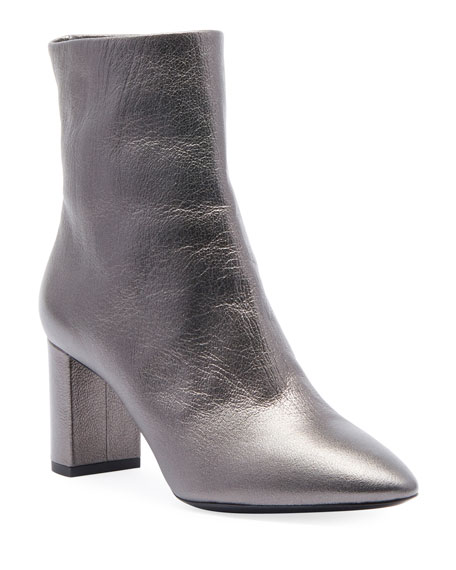 Saint Laurent Lou Metallic Leather Low-Heel Booties