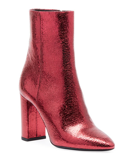 Saint Laurent Lou Crackled Metallic Leather Mid-Heel Bootie