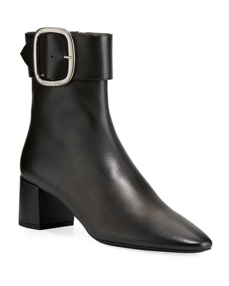 50Mm Joplin Buckled Suede Ankle Boots, Black