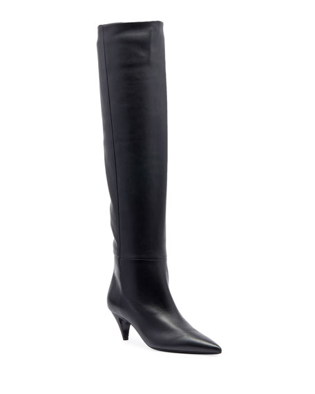 Saint Laurent Charlotte Point-Toe Leather Knee Boot