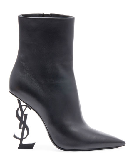 Opyum Leather Bootie with Monogram YSL Heel
