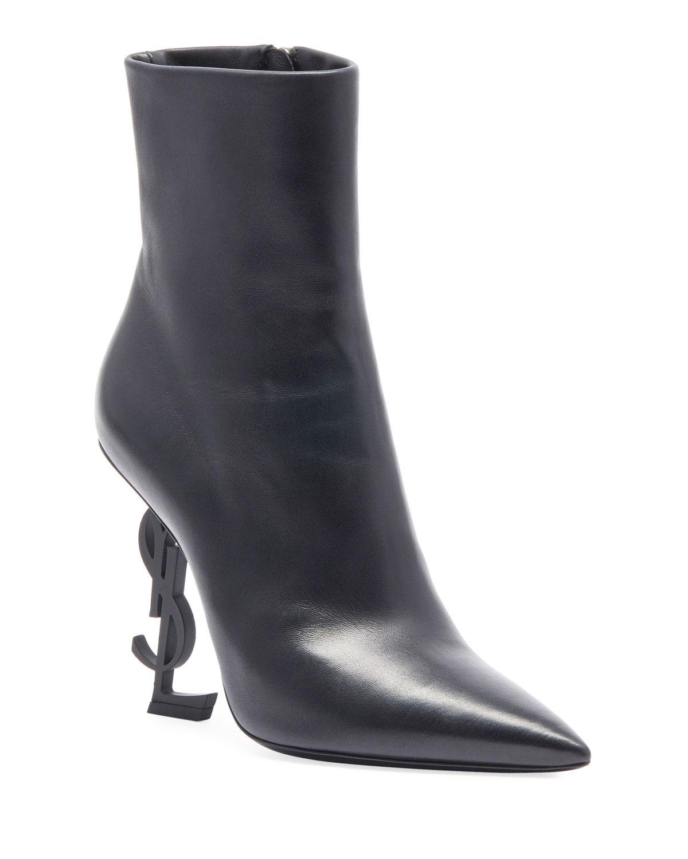 Saint Laurent Opyum Leather Booties With Monogram Ysl Heel
