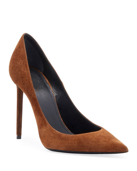 Zoe Suede Point-Toe Pumps