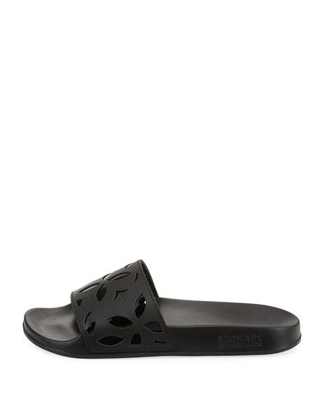 Mimi Flower Cutout Pool Sandals, Black