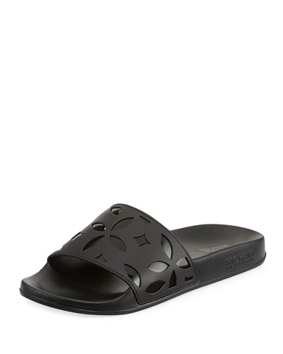 Mimi Flower Cutout Pool Sandal, Black