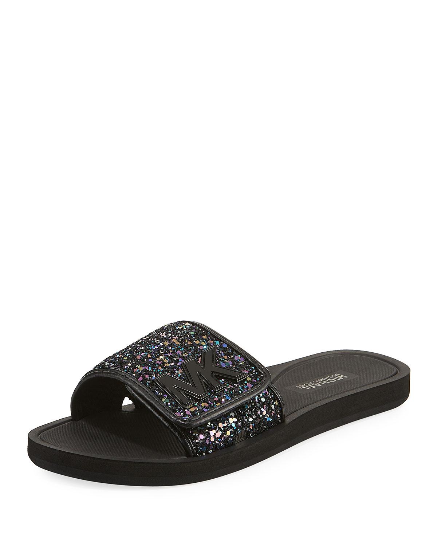MICHAEL Michael Kors MK Glitter Slide Sandal  da73ed8c5