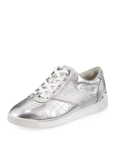Addie Metallic Lace-Up Sneaker, Silver