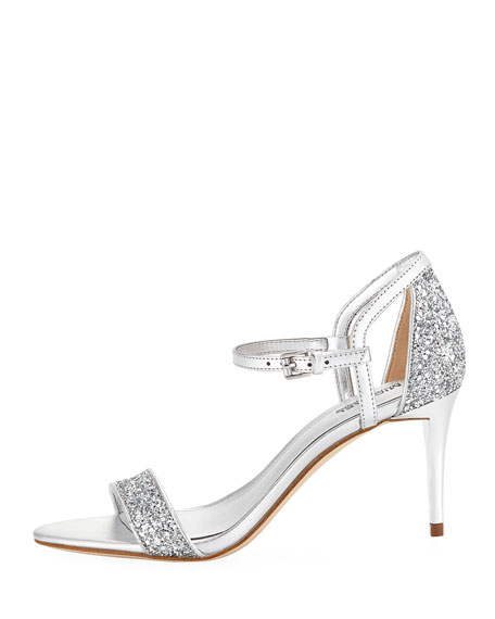 Simone Metallic Mid-Heel Sandals