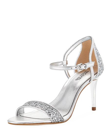 MICHAEL Michael Kors Simone Metallic Mid-Heel Sandal