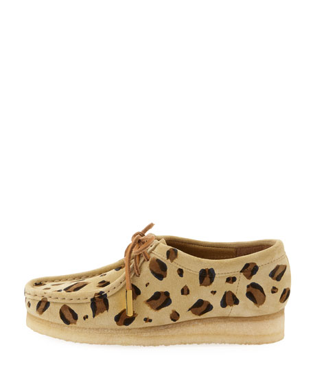 Women's Suede Moc Wallabee Shoe, Leopard Print