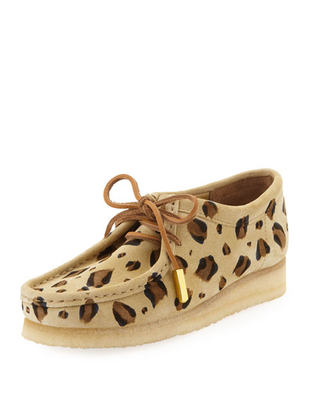 SYCAMORE STYLE Women'S Suede Moc Wallabee Shoe, Leopard Print in Tan