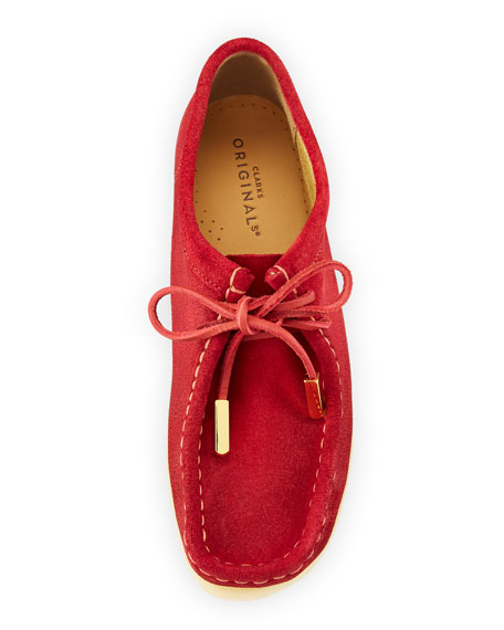 Women's Suede Moc Wallabee Shoe, Fire Red