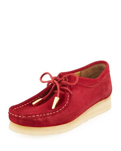 Women's Suede Moc Wallabee Shoe, Fire Red
