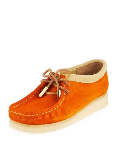 Women's Suede Moc Wallabee Shoe, Garden Orange