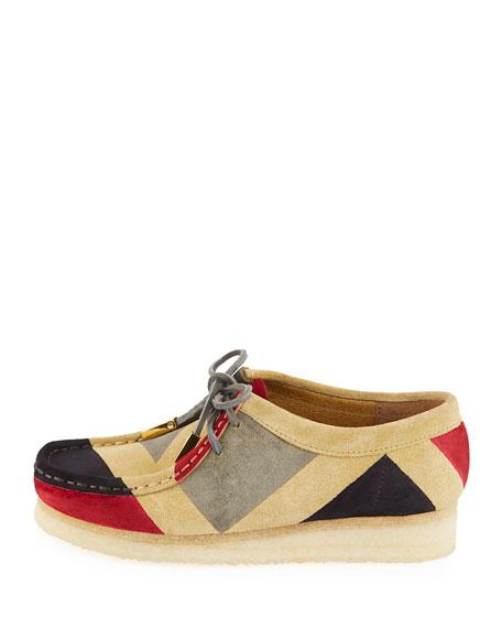 Women's Geometric Suede Moc Wallabee Shoe, Red/Gray/Black