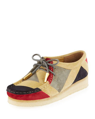 Women's Geometric Suede Moc Wallabee Shoe, Red/Gray/Black