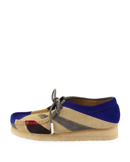 Women's Geometric Suede Moc Wallabee Shoe, Royal Blue/Black/Gray