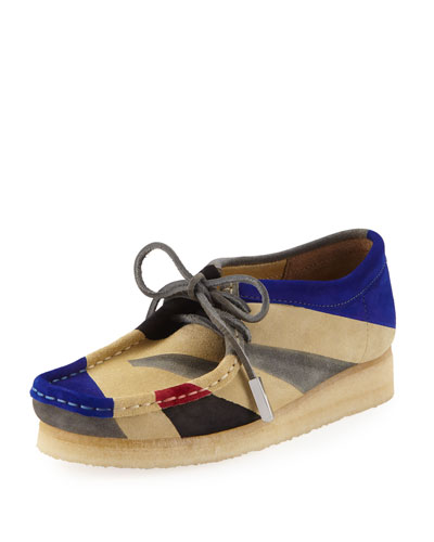 Women's Geometric Suede Moc Wallabee Shoe, Royal Blue/Black/Gray