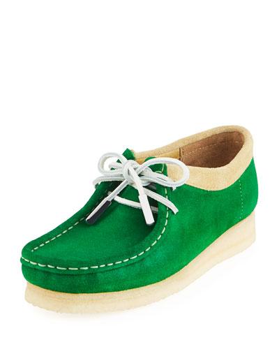 Women's Suede Moc Wallabee Shoe, Monster Green