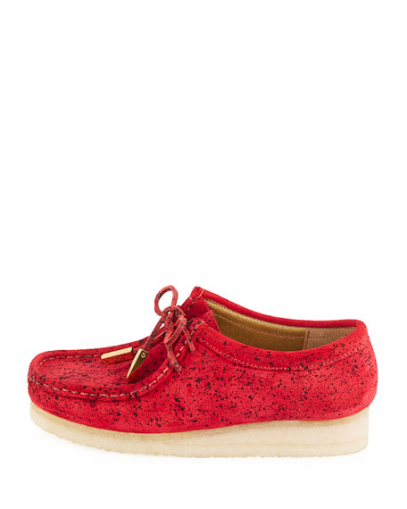 Women's Suede Moc Wallabee Shoe, Red with Black Speckle Print