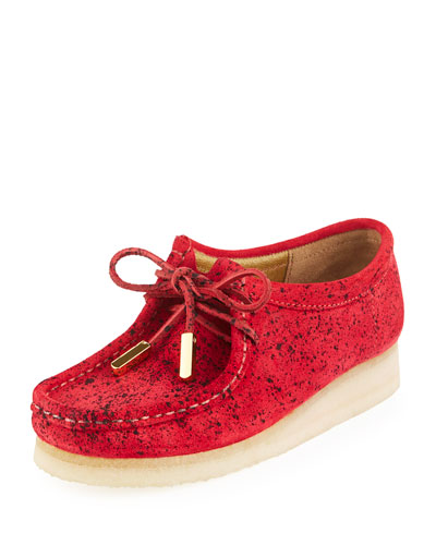 Women's Suede Moc Wallabee Shoe  Red with Black Speckle Print