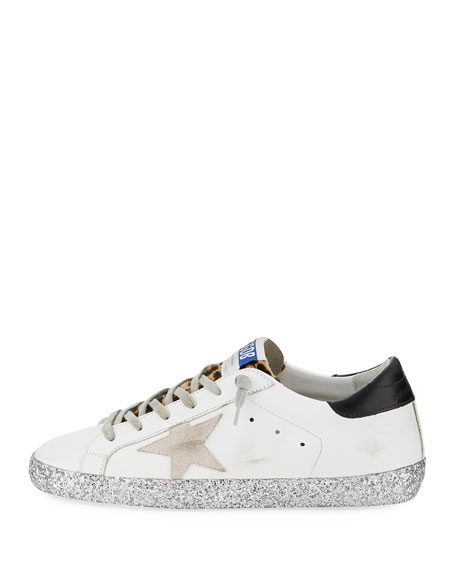 Superstar Leopard Detail Sneakers with Glitter Sole