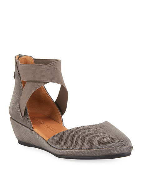 Gentle Souls Noa Elastic Cross-Band Pleated Sandals