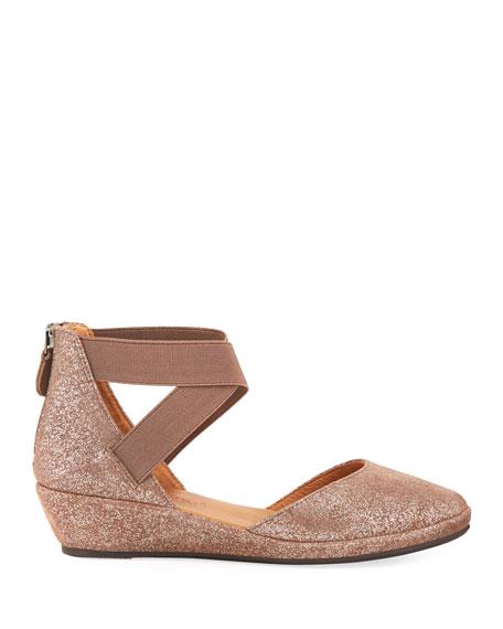 Noa Elastic Cross-Band Closed-Toe Wedge Sandals