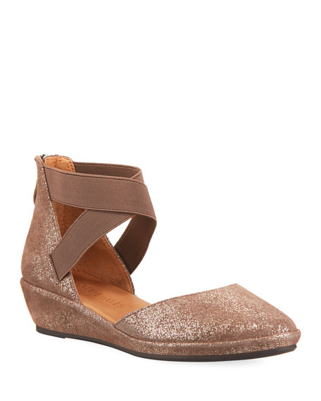 Gentle Souls Noa Elastic Cross-Band Closed-Toe Wedge Sandals