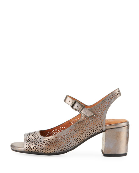 Cheryl 2 Metallic Leather Chunky-Heel Mary Jane Pumps, Pewter