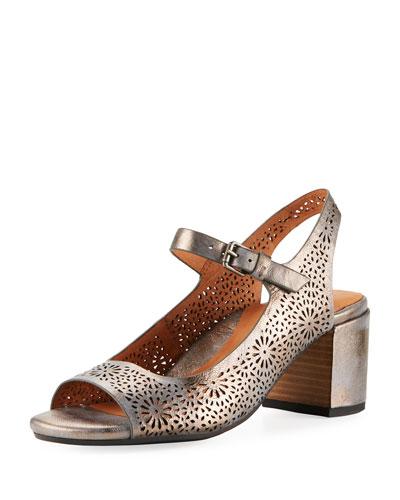 Cheryl 2 Metallic Leather Chunky-Heel Mary Jane Pumps, Pewter