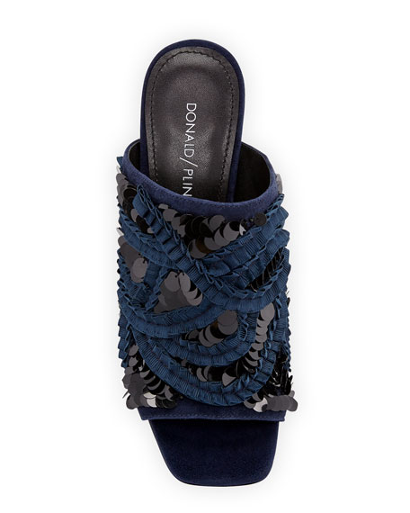 Wynne Sequin Ornamented Slide Sandals
