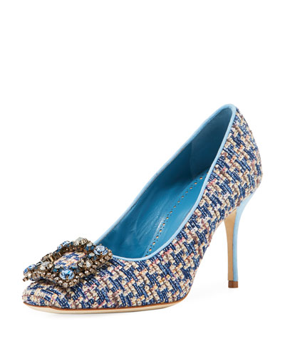 Vazza Tweed Pump with Jeweled Buckle Embellishment