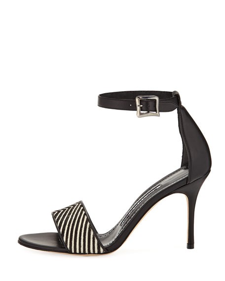 Tresov Pony and Leather Ankle-Strap Sandal