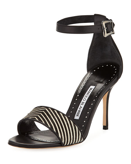 Manolo Blahnik Tresov Pony and Leather Ankle-Strap Sandal