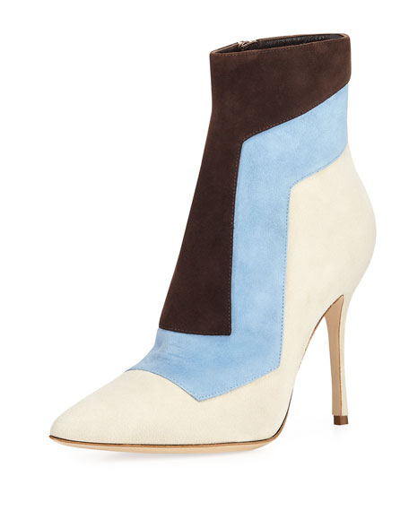 Manolo Blahnik Layevitch Pieced Suede Booties