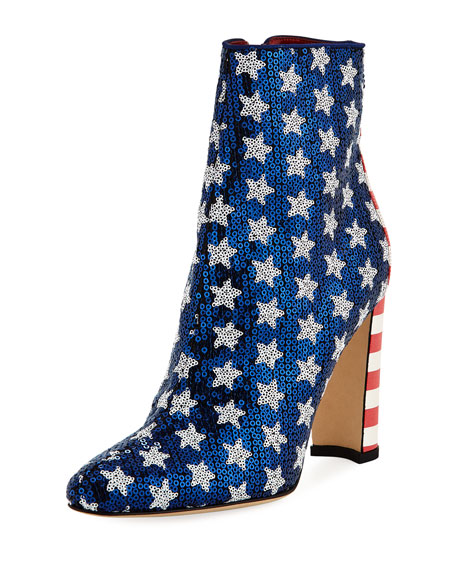 Manolo Blahnik Nancy Sequined Stars & Stripes Flag Bootie